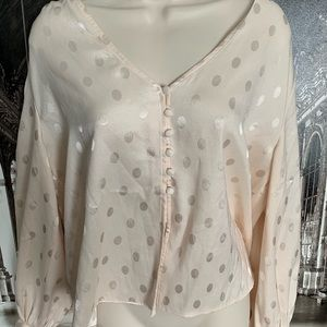 TopShop Champagne Button Blouse Sz US 8